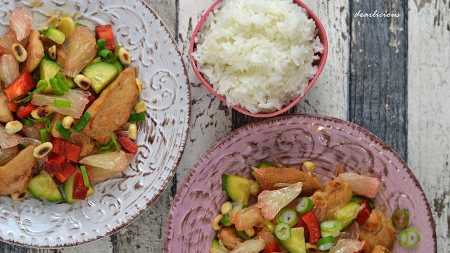 Asiatischer Pomelo-Hühnchen-Salat | dearlicious | http://dearlicious.blogspot.com/2016/03/asiatischer-pomelo-huhnchen-salat-candbwithandrea.html