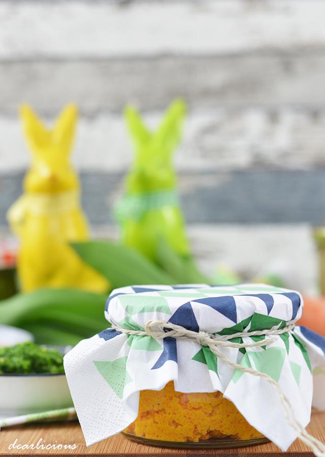 Ostergeschenke aus der Küche | Karottenaufstrich Erdnussbutter Bärlauchpesto | dearlicious | http://dearlicious.blogspot.com/2016/03/ostergeschenke-aus-der-kueche.html