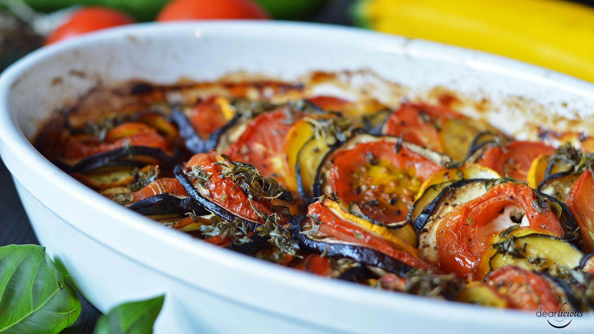Rezept für veganes Ratatouille aus dem Ofen | www.dearlicious.com