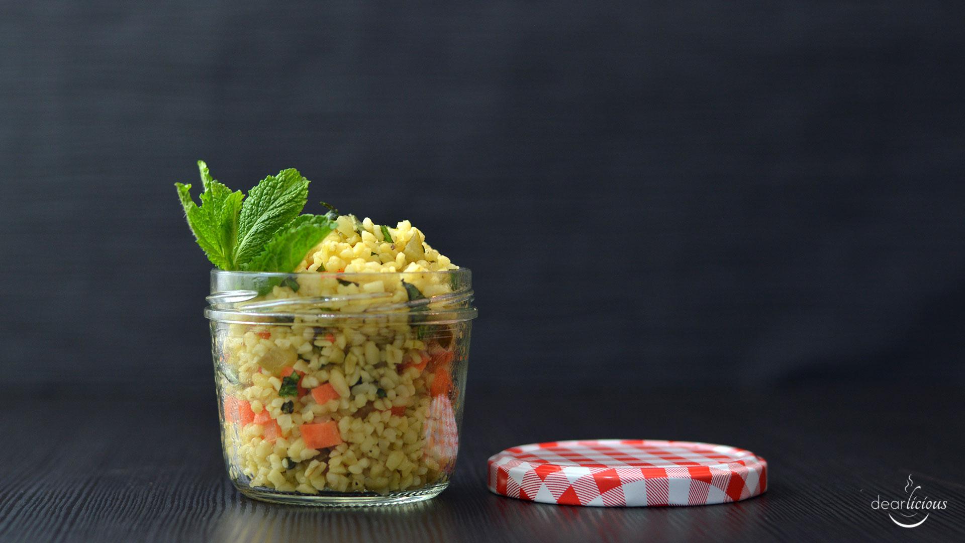 Rezept für Bulgursalat - Mittagessen zum Mitnehmen | dearlicious