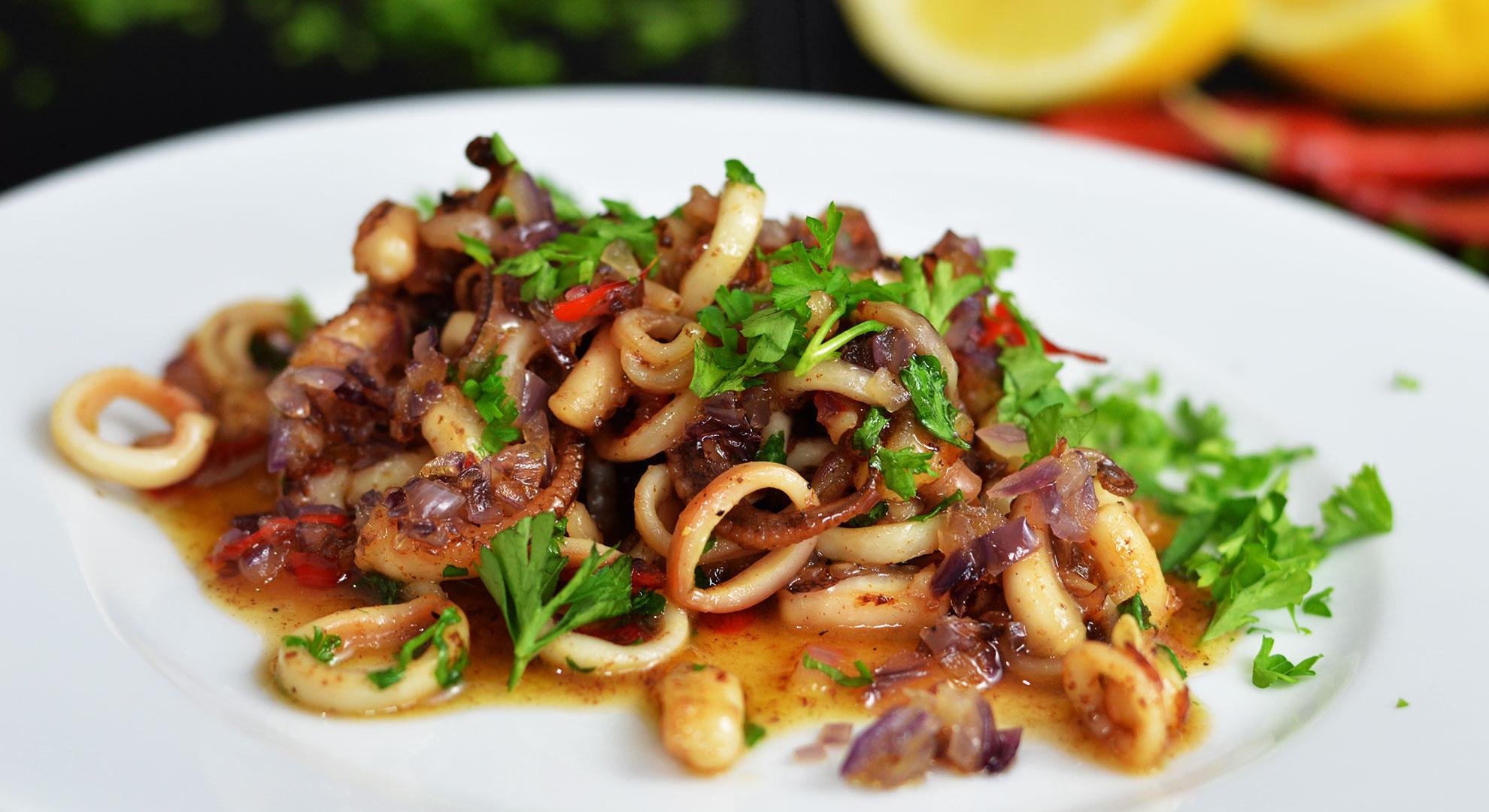 Rezept für Tintenfisch mit Honig, Zitrone und Chili | www.dearlicious.com